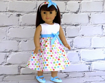 18 inch Doll Clothes Easter Dress with Matching Headband, American Girl Doll Dress, Party Dress