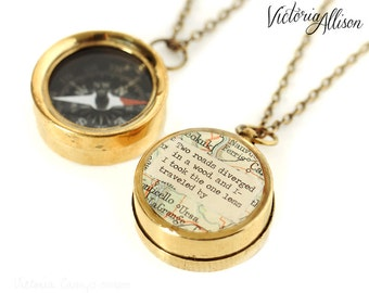 Small Map Compass Necklace with Robert Frost or Personalized Quote, Working Compass, The Road Not Taken, Poetry, Graduation