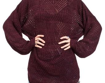 Vintage 90s Maroon Crochet Sheer Open Knit Drape Boyfriend Sweater Top