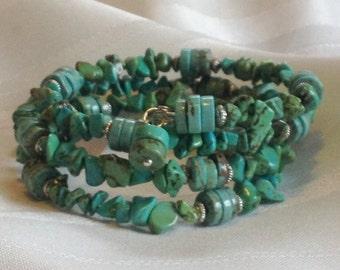 Turquoise Nugget Wrap Bracelet