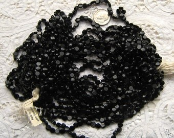 Black Vintage Beads Glass Nailheads Vintage West German Glass Beads Nailhead Sew on Black Shiny Nailheads, 5mm, Vintage German Beads, Crafts