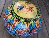 Hand drum, Arjana Rising, Calabash Gourd Drum, Singleton Hippie Art, calebasse drum, drum art, african drum, Hippie ARt, Hippie mandala