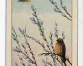 Easter postcard -  Easter Greetings  Vintage Postcard swallows, pussy willows