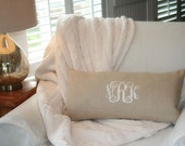 Monogram Pillow Cover, Wedding Gift, Nursery Decor,Monogram Linen Pillow Cover ,Personalized Pillow Cover, Home & Living Decor by OhKoey