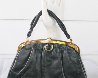 Clearance 1950s Vintage Black Leather and Tortoiseshell Purse by Etra