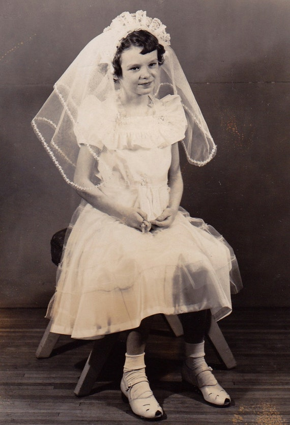 Vintage Photo Girl In First Communion Dress Amp Veil 1950s