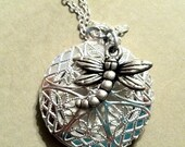 Essential Oil Jewelry Aromatherapy Diffuser Dragonfly Silver Locket W/Silver Chain