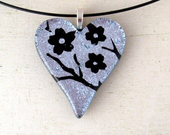 Cherry Blossom | Fused Glass Pendant | Sakura Jewelry | Silver Art Necklace | Heart Shaped | Japanese Inspired | Spring