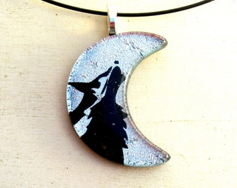 Wolf Necklace Pendant Moon | Fused Glass Jewelry | Tribal Tattoo | Totem Spirit Animal | Silver Necklace | Unisex Jewelry | Werewolf