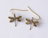 Dragonfly Earrings | Gold | Small | Charm, Unique, nature-inspired insect delicate beach cute animal jewelry | Handmade in Santa Cruz