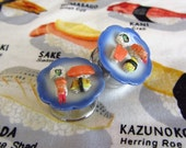 "3/4"" Sushi Plugs - California Roll Tamago Nigiri Shrimp Roll - Realistic Miniature Food!"