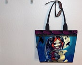 Jasmine Becket-Griffith Once Upon a Midnight Dreary tote bag, book bag, large purse, canvas tote, shoulder bag