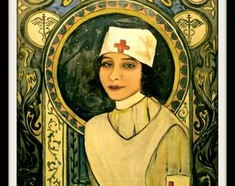 Nurse Art Nouveau Art Print,Vintage Red Cross Art Poster Print 8 x 10 Giclee