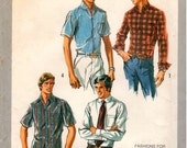 "Vintage UNCUT Simplicity Pattern 8725 - Extra-Tall Men's Set of Shirts - Height Approx. 6' 3"" to 6' 7"" - Size 38-44"