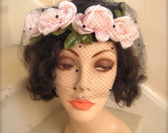 1960s Navy Halo Hat Fascinator with Silk Pink Roses and Birdcage Veil