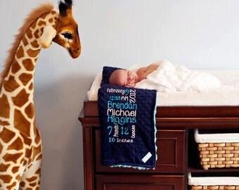 Personalized Custom Birth Announcment/Stats Blanket