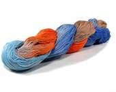 150 Yards Hand Dyed Cotton Crochet Thread Size 10 3 Ply Specialty Thread Light Blue Periwinkle Orange Coffee Hand Painted Fine Cotton Yarn
