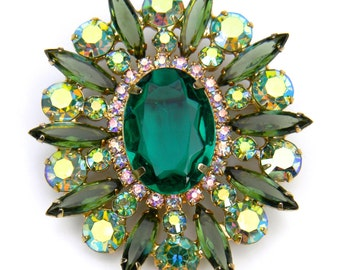 Large DeLizza and Elster (Juliana) Green Navette Rhinestone Brooch
