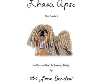 PDF file: LHASA APSO Dog Pin Beading Pattern Beaded Animal Bead Embroidery Tutorial  (For Personal Use Only) Free Ship