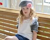 Girl's Crochet Ruffle Shrug, Heather grey, toddler sweater, infant sweater, Spring, Summer, Beach, Gray Sweater, sizes Newborn through 8Y
