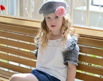 Girls shrug - gray sweater - infant sweater- Easter sweater -baby sweater - flower girl shawl - toddler sweater- gray shrug - crochet shrug