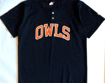 Owls mesh sport jersey / henley tee, black with orange and white lettering, number 37, men's extra large