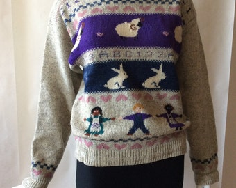 Wool rich sweater featuring bunnies, curly horn sheep & children of the world in gray, purple, blue, and rose, women's medium / large
