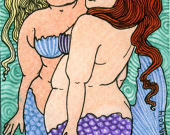 Two Mermaids 5x7 print