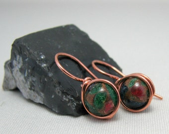 Multicolored Stone Copper Earrings Inlay Stone Goldstone  Wire Wrapped Illusion Earrings Dangle Earrings Comfortable Earrings