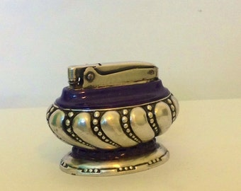 RONSON CROWN Classic Table Lighter -  Silver Plated - Vintage - Collectible - Decorative - Unique - Hand Painted - add to your Collection
