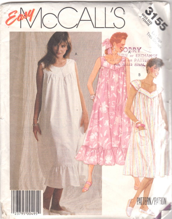 McCalls 3155 1980s Misses Pullover Tent Dress Muu Muu Pattern Scoop Sweetheart Neck Womens Vintage Sewing Pattern Size XL B 44 46 UNCUT