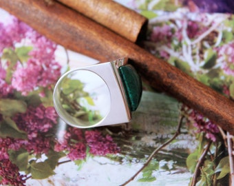 Contemporary and stunning Chrysocolla Sterling silver ring