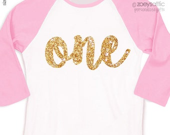 First birthday shirt girl sparkly one or any age raglan shirt - fun pink gold glitter birthday shirt