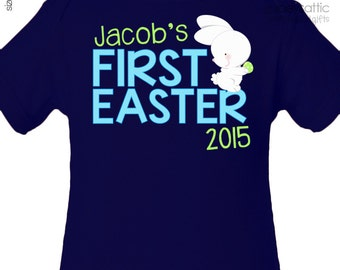 First Easter shirt bunny personalized DARK bodysuit or Tshirt for your little boy - perfect for 1st Easter festivities