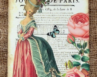 French Marie Antoinette Journal Gift or Scrapbook Tags or Magnet #270