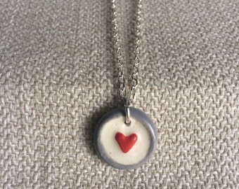 Simple Red Heart Ceramic Pendant Necklace, ooak, handmade