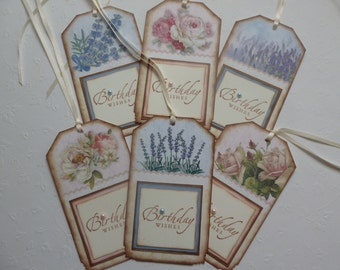 Birthday tags floral tags vintage style hand stamped birthday wishes roses lilacs pastels blue pink - set of 6