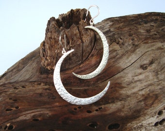 Moon Earrings Hammered Silver Moon Dangle Earrings Crescent Moon Earrings Sterling Silver Statement Earrings Boho Earring Christmas earrings