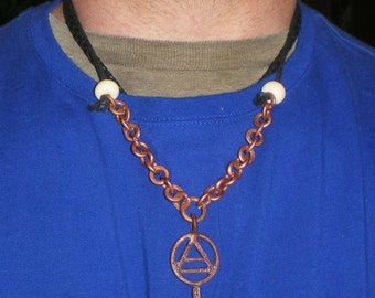 Air Elemental Symbol Bind Rune Pendant Hammered Copper Chain Cotton Cord Necklace