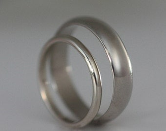 Recycled Palladium Wedding Band Simple Polished Half Round Style