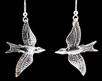 Bird Earrings Silver Mocking Jay Earrings  Mocking Jay Jewelry Bird Jewelry Silver Bird Wing Earrings Bird Charm Feather Earrings Wing Charm