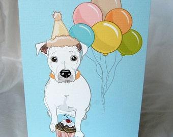 White Pit Bull 'n Balloons Greeting Card