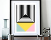 Geometric poster retro print Mid century modern Scandinavian design abstract wall art home decor pastel colour modernist office Brutal 1 A3