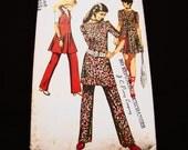 1970s Mini Dress Pattern Simplicity Misses size 16 Bust 38 Womens Mini Dress, Long Vest, Pants Vintage Sewing Pattern