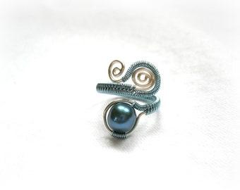 Baby Blue Swirl Pearl Ring