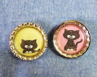 Black Kitty Cat Bottle Cap Magnet Set, Kitchen Fridge Magnets, Bottlecap Magnets, Cat Lover Gift, Cat Magnets, Gift for Feline Lovers
