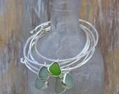 Sea Glass Bangle Bracelet with Bezel Sea Glass Pendant Sterling Silver