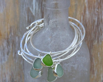 Sea Glass Bangle Bracelet with Bezel Sea Glass Pendant Sterling Silver