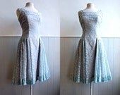 1950s Sheer Pale Blue and Cream Floral Party Dress // Full Skirt // Medium