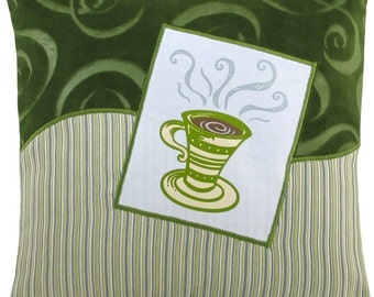 "Coffee Cup ""Tall"" Decorative Pillow Mini Size 12 x 12 inches"